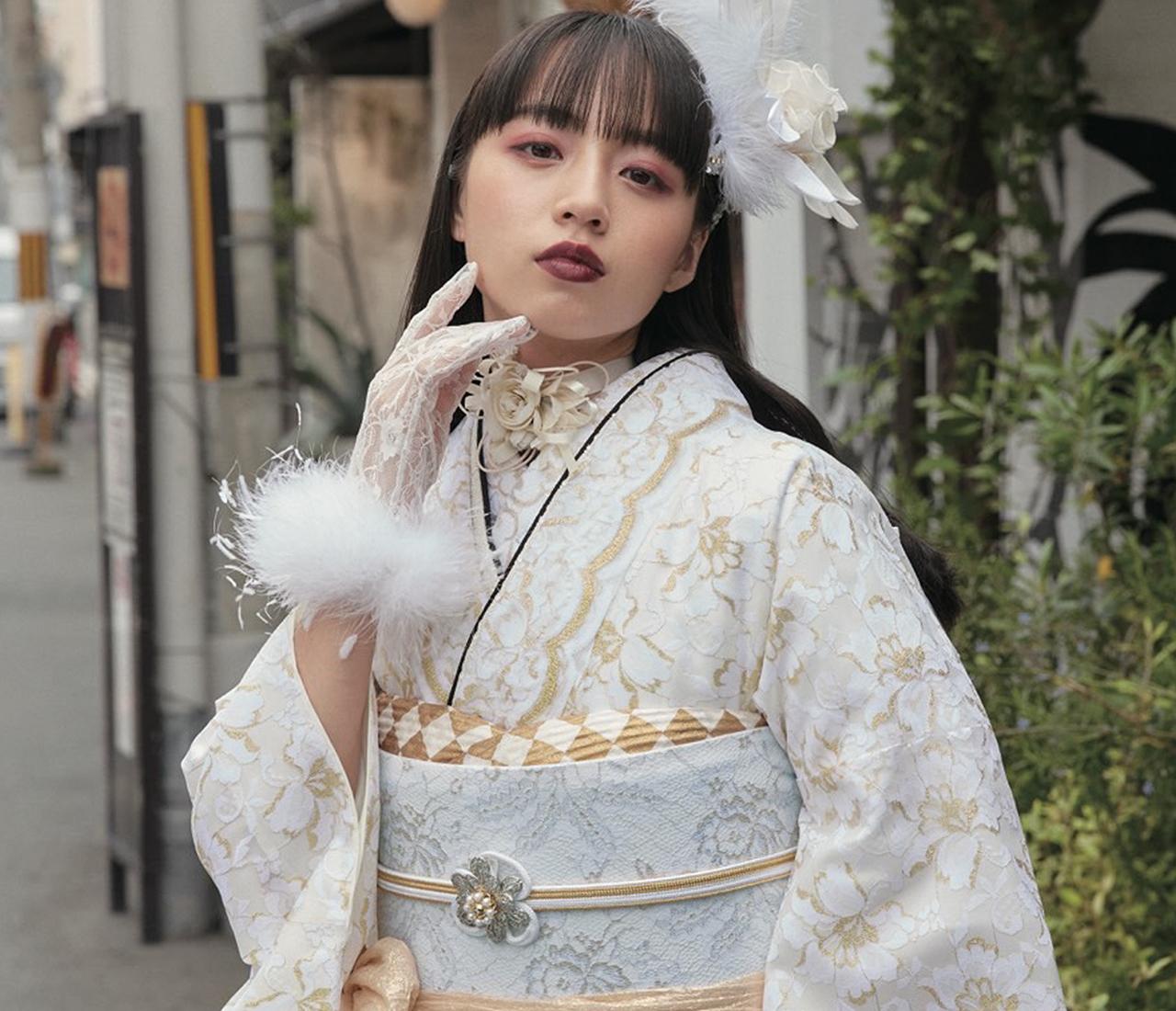biwa桜の振袖